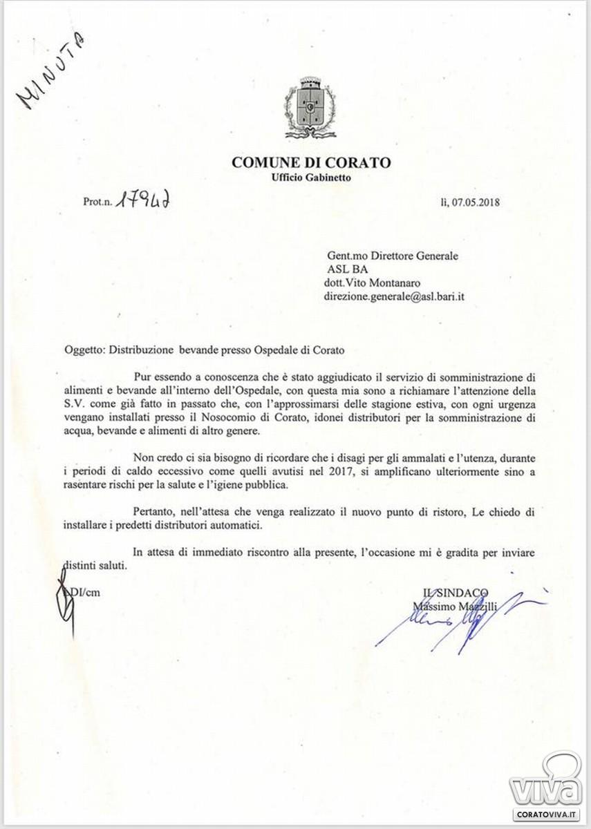 Il sollecito del sindaco Mazzilli all'ASL BARI