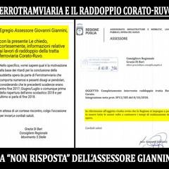 """Ferrotramviaria, il raddoppio Corato-Ruvo e le """"non"""" risposte dell'ass. Giannini"""