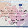 """Certificato di eccellenza in """"Coding"""" per l' I.C. """"Tattoli - De Gasperi"""""""