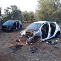 Auto cannibalizzate ritrovate nelle campagne di Corato