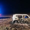 Jeep in fiamme nelle campagne di Corato