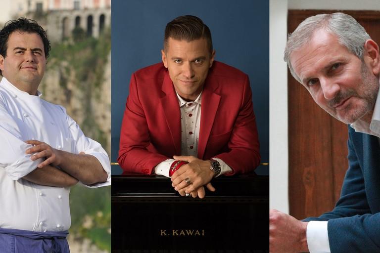 Lo chef stellato Gennaro Esposito, lo scrittore Gianrico Carofiglio e il musicista Matthew Lee